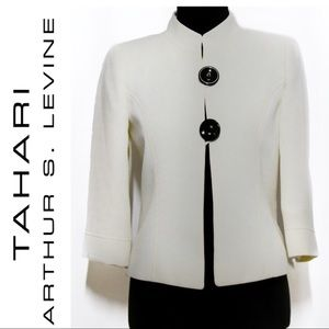 Tahari ASL Petite Ivory Blazer Mandarin Collar 2P